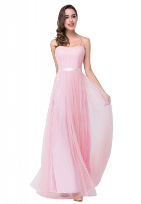 ELLIS | A-line Sweetheart Floor-length Pink Tulle Ruffles Bridesmaid Dresses_5