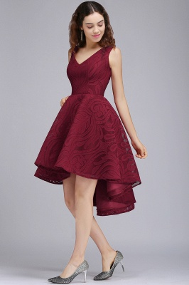 Cheap Burgundy Hi-lo A Line V neck Lace Cocktail Party Dresses_4
