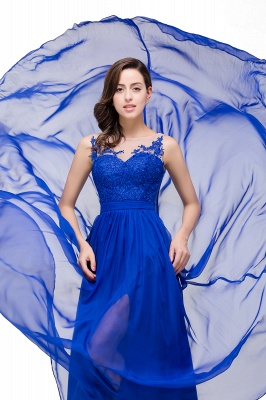 A-line Scoop-Neck Floor-length Sleeveless Chiffon Prom Dresses with Appliques_4
