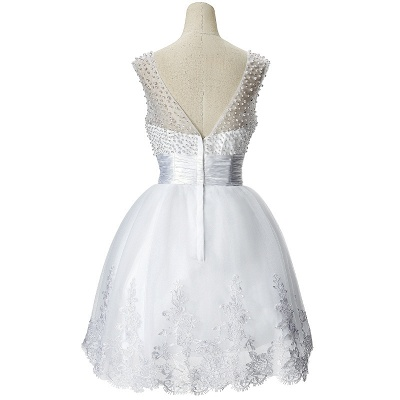 A-line Jewel Tulle Party Dress With  Beading_4