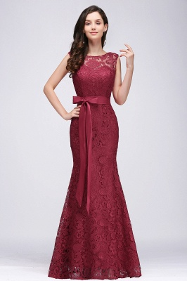 EDEN | Mermaid Sleeveless Floor-length Lace Prom Dresses with Ribbon Sash_1