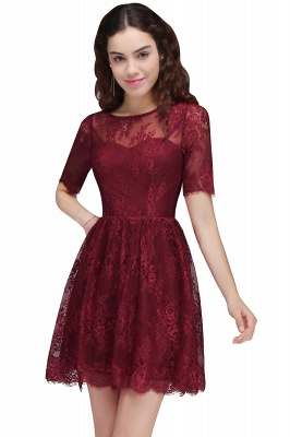 BRITTANY | A-Line Round Neck Short Lace Burgundy Homecoming Dresses_1