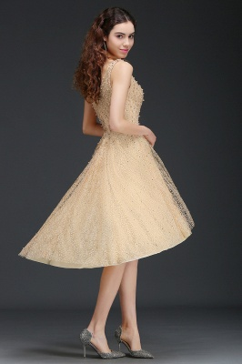A-line Hi-Lo Popular Homecoming Dress With Pearls_6