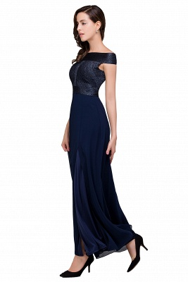 Sheath Off Shoulder Floor-Length Chiffon Prom Dresses_7
