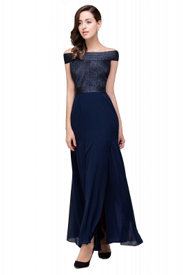 Sheath Off Shoulder Floor-Length Chiffon Prom Dresses_6