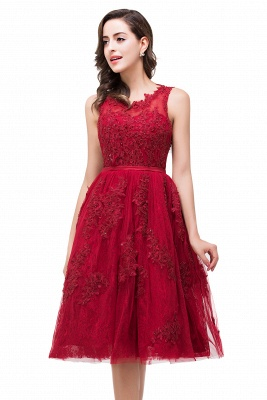 ADELINE | A-line Short Tulle Evening Dress with Appliques_7
