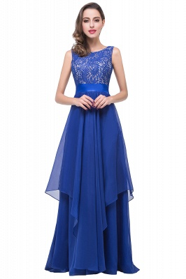 ADDISON | A-line Floor-length Chiffon Evening Dress with Lace_5