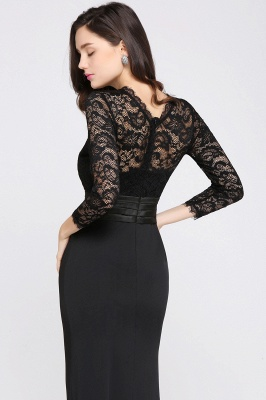 ARIANNA | Sheath High Neck Black Elegant Evening Dresses with Lace_11