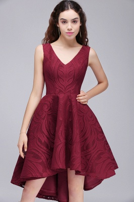 Cheap Burgundy Hi-lo A Line V neck Lace Cocktail Party Dresses_6