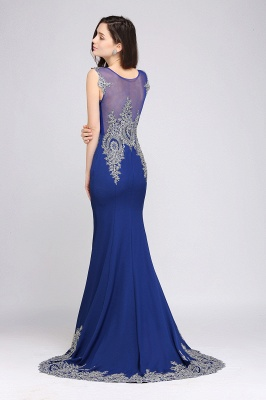 Mermaid Scoop Sweep Train Royal Blue Prom Dresses with Appliques_3