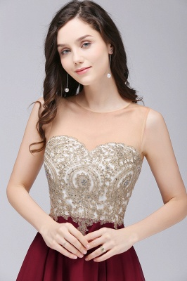 Sheath Jewel Chiffon Short Homecoming Party Dresses With Applique_5