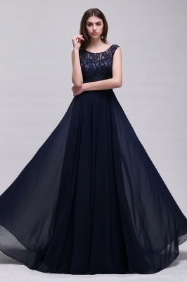 AUDRINA | A-line Scoop Chiffon Prom Dress With Lace