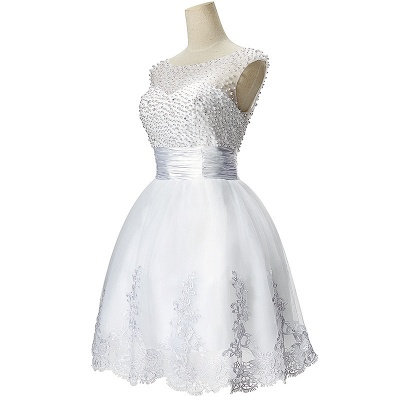A-line Jewel Tulle Party Dress With  Beading_2