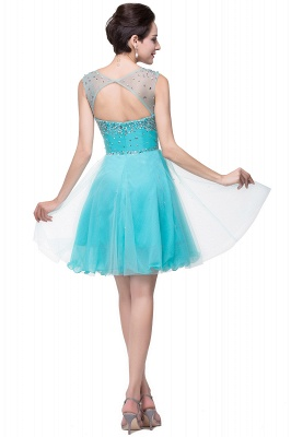 ELIN | A-line Sleeveless Crew Short Tulle Prom Dresses with Crystal Beads_8