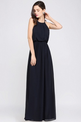 CHEYENNE | A-line Floor-length Chiffon Navy Blue Simple Prom Dress_15