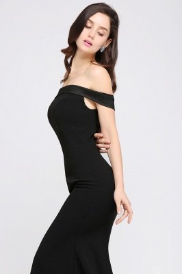 Mermaid Sweep Train Off The Shoulder Black Evening Dresses_5