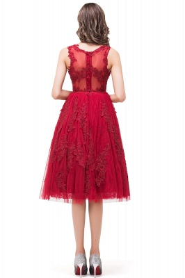A-Line Knee-Length Red Lace Tull Prom Dresses with sequins_3