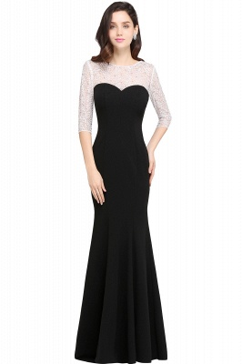Mermaid Floor Length Black Evening Dresses with Lace_1