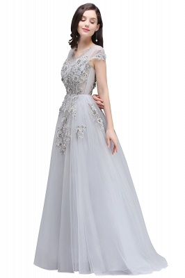 A-line Crew Short Sleeves Floor-length Appliques Tulle Prom Dresses_1