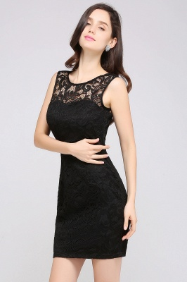 ARYA | Sheath Scoop Black Lace Homecoming Dresses_13