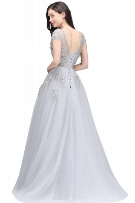 A-line Crew Short Sleeves Floor-length Appliques Tulle Prom Dresses_3