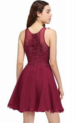 CARLEE | A-line Jewel Short Chiffon Burgundy Homecoming Dresses with Lace Appliques_8