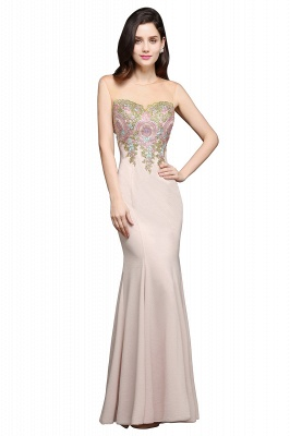Mermaid Floor Length Pearl Pink Evening Dresses with Appliques_6