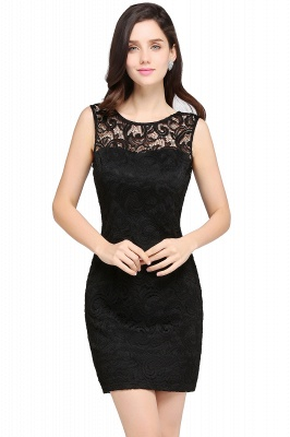 ARYA | Sheath Scoop Black Lace Homecoming Dresses