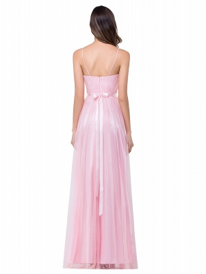 ELLIS | A-line Sweetheart Floor-length Pink Tulle Ruffles Bridesmaid Dresses_4