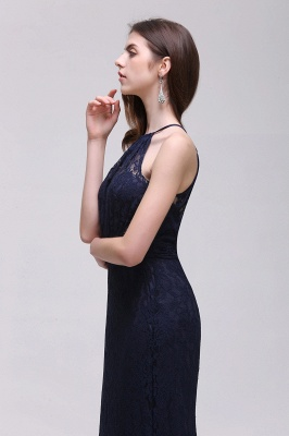 CHARLEE | Column Floor length Halter Navy blue Lace Prom Dress_7
