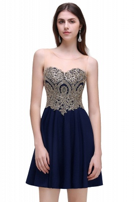 CAITLIN   A-line Short Chiffon Black Homecoming Dresses with Appliques_1