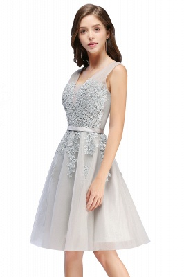 ADDILYNN | A-line Knee-length Tulle Prom Dress with Appliques_8