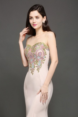 Mermaid Floor Length Pearl Pink Evening Dresses with Appliques_2