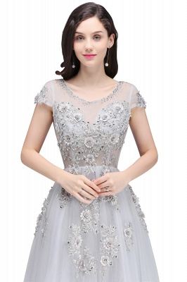 A-line Crew Short Sleeves Floor-length Appliques Tulle Prom Dresses_4