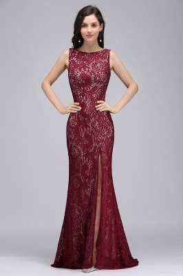 Mermaid Crew Floor-length Sleeveless Burgundy Lace Prom Dresses