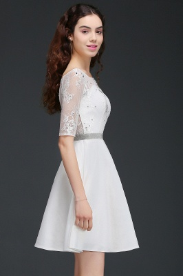 A Line Jewel White Short Sleeve Satin Homecoming Dresses With Lace_3