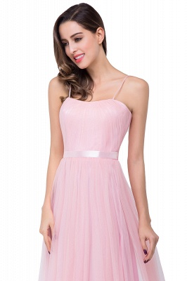 ELLIS | A-line Sweetheart Floor-length Pink Tulle Ruffles Bridesmaid Dresses_9