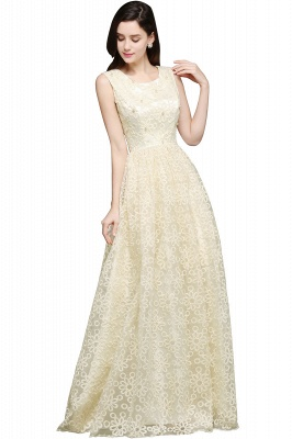 A-line Scoop Floor Length Evening Dress With Lace_1