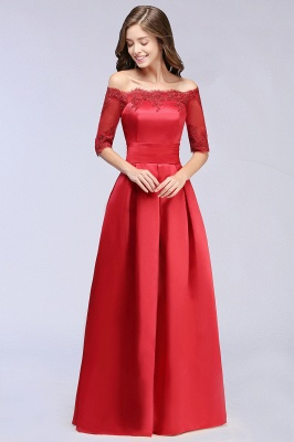ELLISON | A-line Half Sleeve Floor-length Off-shoulder Appliques Prom Dresses_6