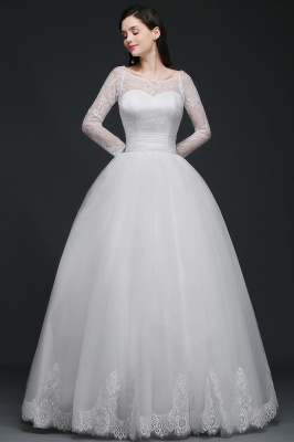 Princess Scoop Tulle White Wedding Dress With Lace_1