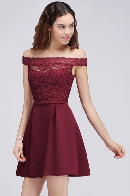 BROOKLYN | A-Line Off-the-shoulder Short Lace Burgundy Homecoming Dresses_4