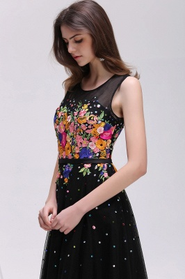 A-line Jewel Neck Tulle Black Prom Dresses with Embroidery Flowers_4