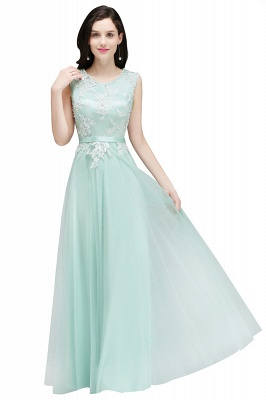 CARLY   A-line Jewel Neck Long Tulle Pink Prom Dresses with Sash_3
