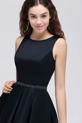 A-Line Round Neck Short Dark Navy Homecoming Dresses With Crystal_7