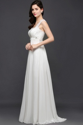 A-line Sweetheart Chiffon White Evening Dress With Lace_4