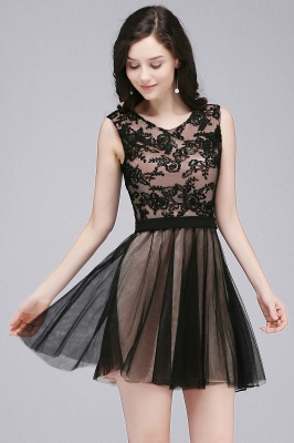 ELEANOR | A-line Crew Short Sleeveless Tulle Lace Appliques Prom Dresses_6