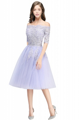 A-line Bateau Tulle Prom Dress with Appliques