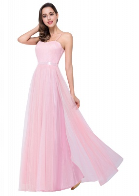 ELLIS | A-line Sweetheart Floor-length Pink Tulle Ruffles Bridesmaid Dresses_10