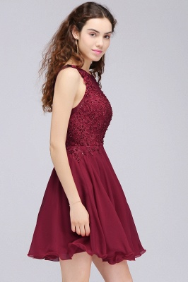 CARLEE | A-line Jewel Short Chiffon Burgundy Homecoming Dresses with Lace Appliques_11