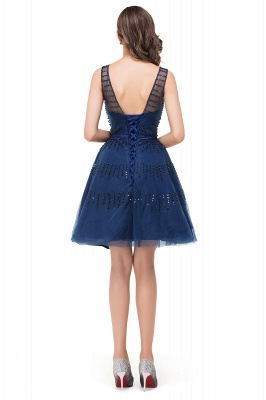 A-Line Sleeveless Crew Tulle Appliques Short Prom Dresses_3